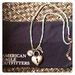 💕 American Eagle Heart w/Key Necklace